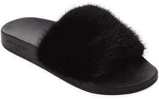 Givenchy Black Real Fur Slide Sandals