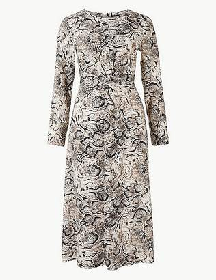 Marks and Spencer PETITE Animal Print Fit & Flare Midi Dress