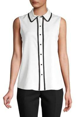 Karl Lagerfeld Paris Pleat-Trimmed Sleeveless Button-Down Shirt