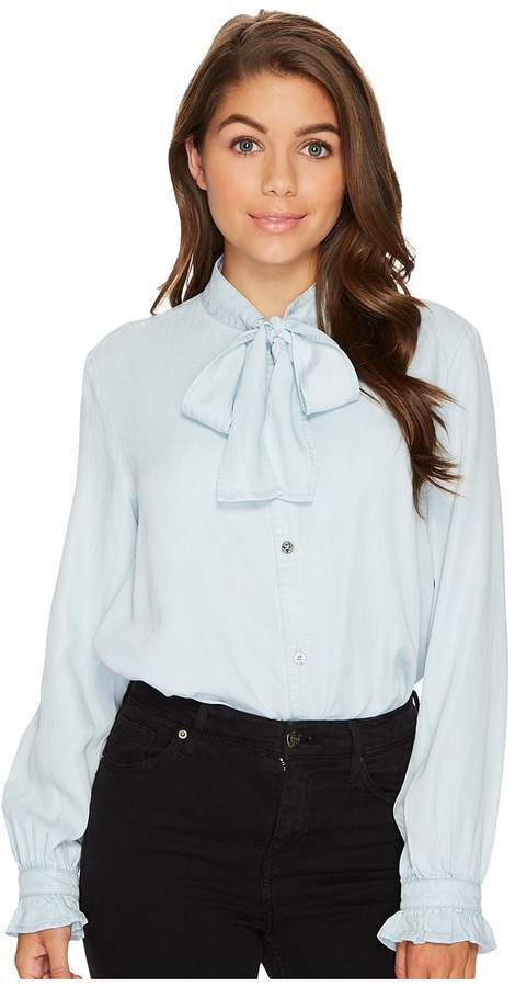 7 For All Mankind Bow Tie Denim Shirt in Sunrise Blue