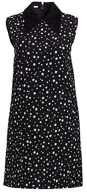 Miu Miu Women's Paiette Star-Print Collared Shift Dress