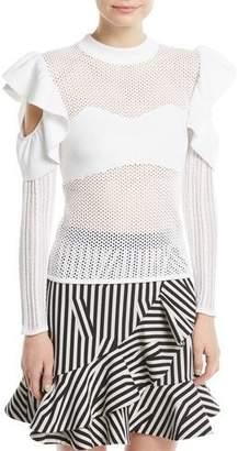 Self-Portrait Frill Cold-Shoulder Open-Knit Top