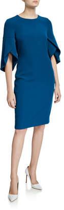 Badgley Mischka Tulip Sleeve Day Dress