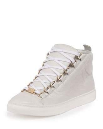 Balenciaga Arena Leather High-Top Sneaker, White $585 thestylecure.com