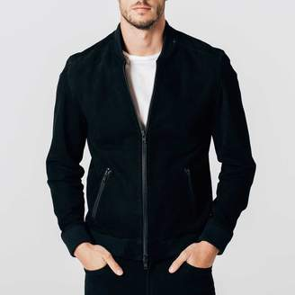 DSTLD Mens Suede Bomber Jacket in Black