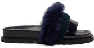 Sacai Navy and Green Furry Slides