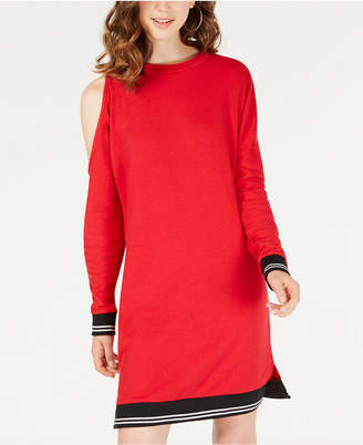 Material Girl Juniors' Cold-Shoulder Sweatshirt Dress