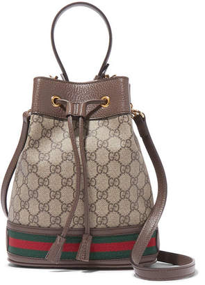 Gucci Ophidia Small Textured Leather-trimmed Printed Coated-canvas Bucket Bag - Brown