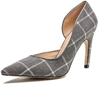 c5ac222c7a2 coollight Pointed Cap Toe Pumps Comfortable Slip On High Heels Wedding  Elegant Dress Formal Shoes Women s