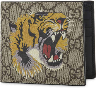 Gucci Beige Tiger Print Eden Supreme Canvas And Leather Wallet