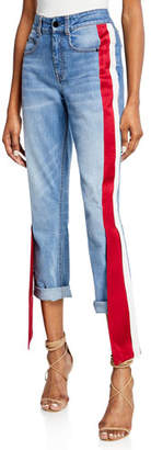 Hellessy Distressed Satin-Side Jeans