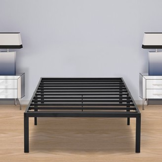 GranRest 14'' Black Steel Slat Metal Platform Bed, Twin XL