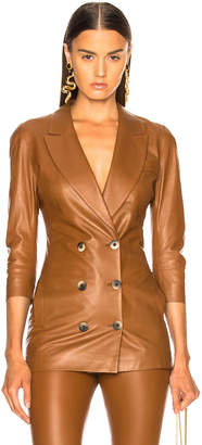 Zeynep Arcay Wrap Leather Blazer