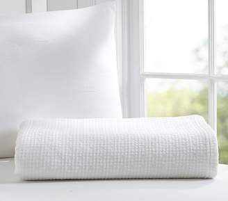 Pottery Barn Kids Organic Cotton Woven Blanket, White, Twin
