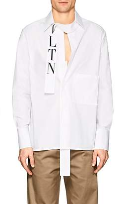 Valentino Men's Placket-Detail Cotton Oversized Shirt
