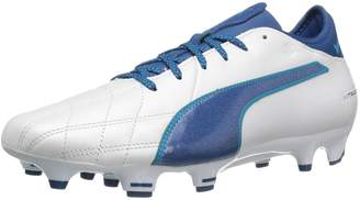 Puma Men's Evotouch 3 Lth FG Soccer Shoe, White-True Blue-Blue Danube