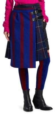 Sacai Stripe Wool Quilted Skirt