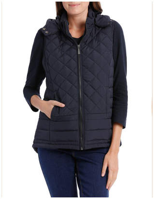 Quilted Vest With Removable Hood-Navy