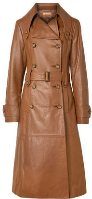 Michael Kors Belted Leather Trench Coat - Brown
