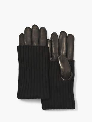 John Varvatos Nappa Leather Knit Glove