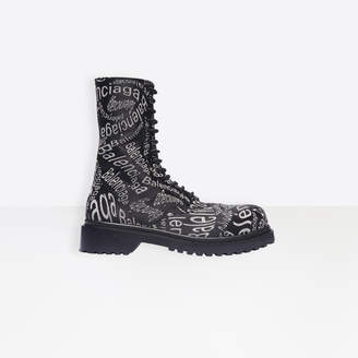 Balenciaga Love Paris Lace-Up Boot in black, red and white jacquard canvas and black outsole