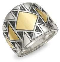 David Yurman Sterling Silver & 18K Gold Band Ring