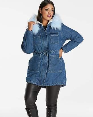 Fashion World Lux Denim Parka with Contrast Fur