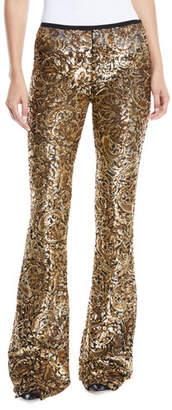 Michael Kors Paisley-Paillette Flared-Leg Pants