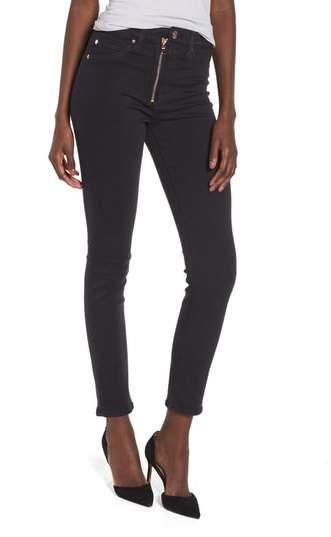 Barbara Exposed Zip High Waist Ankle Skinny Jeans