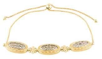 14K Fleur de Lis Filigree Oval Link Bracelet