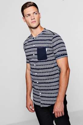 boohoo Aztec Print Short Sleeve Grandad Shirt