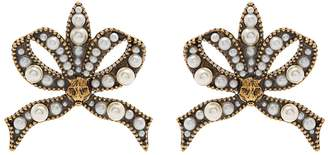 Gucci Faux-pearl and feline-embellished bow earrings
