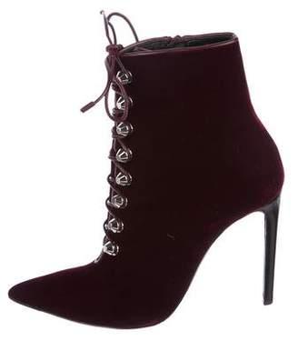 Balenciaga Velvet Lace-Up Ankle Boots
