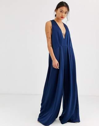 Asos Design DESIGN minimal jumpsuit with plunge & wide leg