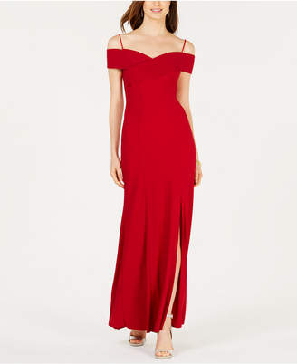Night Way Nightway Off-The-Shoulder Slit Gown