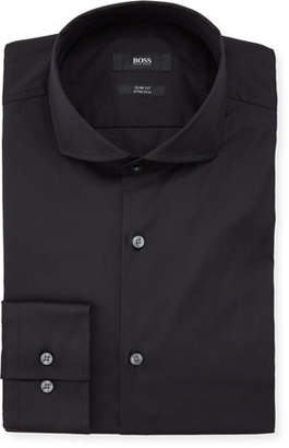 BOSS Slim Fit Stretch Solid Cotton Dress Shirt