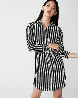 Express Petite Striped Pocket Shirt Dress