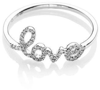 Ef Collection 14K White Gold Diamond Love Script Ring - Size 7 - 0.10 ctw