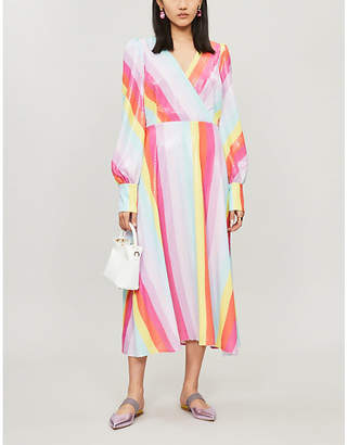 Olivia Rubin Danni rainbow-striped wrap-over sequinned dress