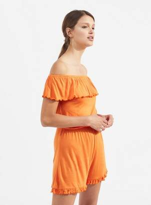 Miss Selfridge Orange bardot playsuit