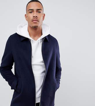 Asos Design DESIGN Tall wool mix zip through jacket in navy