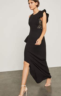 BCBGMAXAZRIA Marcelle Asymmetrical Ruffle Gown