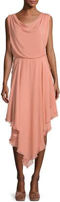 Haute Hippie Anastasia Draped Chiffon Dress W/ Asymmetric Hem