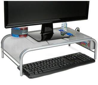 MINDREADER Mind Reader Metal Mesh Monitor Stand, Laptop Riser with No Drawer, Silver