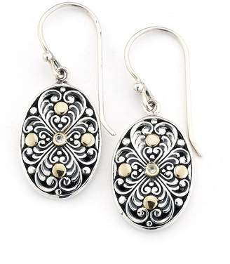 Samuel B Jewelry Sterling Silver & 18K Yellow Gold White Topaz Accented Balinese Oval Drop Earrings