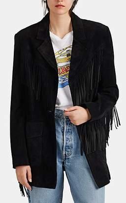 RE/DONE Women's Fringe-Trimmed Suede Western Jacket - Black
