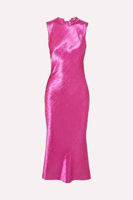 Rebecca Vallance Loren Bow-detailed Satin Midi Dress - Magenta