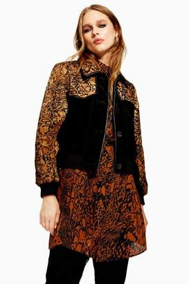 Topshop Animal Print Leather Jacket
