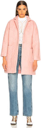 Ganni Boucle Wool Coat in Silver Pink | FWRD