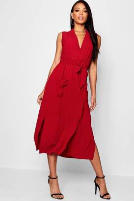 boohoo Sleeveless Belted Midi Shirt Dress